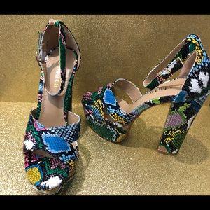 "COPY - NWB 5"" colorful snakeskin heels"